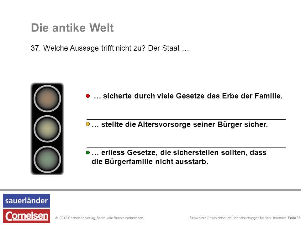 Schweizer Geschichtsbuch 1 Handreichungen für den Unterricht Folie 0© 2012 Cornelsen Verlag, Berlin. Alle Rechte vorbehalten. Die antike Welt 37. Welc