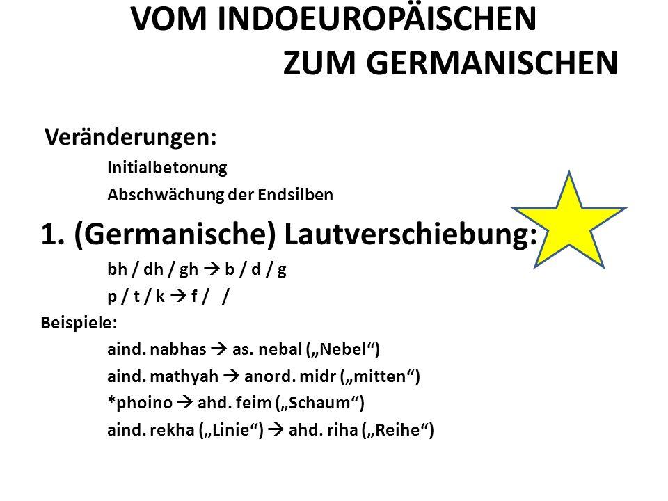 VOM INDOEUROPÄISCHEN ZUM GERMANISCHEN Veränderungen: Initialbetonung Abschwächung der Endsilben 1.