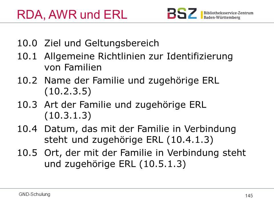 145 10.0Ziel und Geltungsbereich 10.1Allgemeine Richtlinien zur Identifizierung von Familien 10.2Name der Familie und zugehörige ERL (10.2.3.5) 10.3Art der Familie und zugehörige ERL (10.3.1.3) 10.4Datum, das mit der Familie in Verbindung steht und zugehörige ERL (10.4.1.3) 10.5Ort, der mit der Familie in Verbindung steht und zugehörige ERL (10.5.1.3) GND-Schulung RDA, AWR und ERL