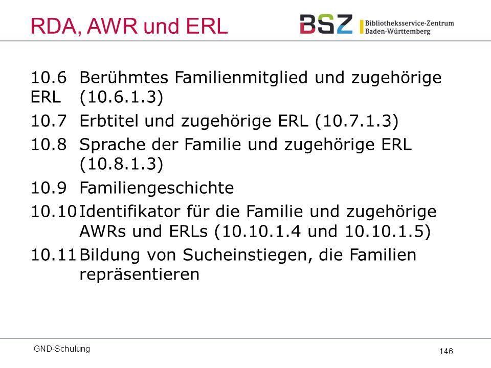 146 10.6Berühmtes Familienmitglied und zugehörige ERL (10.6.1.3) 10.7Erbtitel und zugehörige ERL (10.7.1.3) 10.8 Sprache der Familie und zugehörige ERL (10.8.1.3) 10.9Familiengeschichte 10.10Identifikator für die Familie und zugehörige AWRs und ERLs (10.10.1.4 und 10.10.1.5) 10.11Bildung von Sucheinstiegen, die Familien repräsentieren GND-Schulung RDA, AWR und ERL
