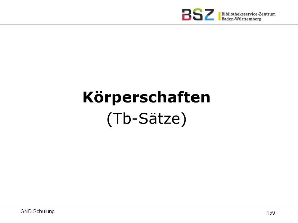 159 Körperschaften (Tb-Sätze) GND-Schulung