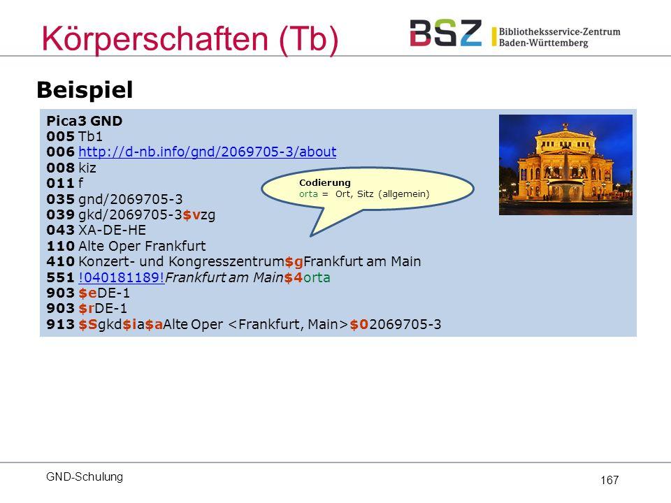 167 Pica3 GND 005 Tb1 006 http://d-nb.info/gnd/2069705-3/abouthttp://d-nb.info/gnd/2069705-3/about 008 kiz 011 f 035 gnd/2069705-3 039 gkd/2069705-3$vzg 043 XA-DE-HE 110 Alte Oper Frankfurt 410 Konzert- und Kongresszentrum$gFrankfurt am Main 551 !040181189!Frankfurt am Main$4orta 903 $eDE-1 903 $rDE-1 913 $Sgkd$ia$aAlte Oper $02069705-3 Codierung orta = Ort, Sitz (allgemein) Körperschaften (Tb) Beispiel GND-Schulung