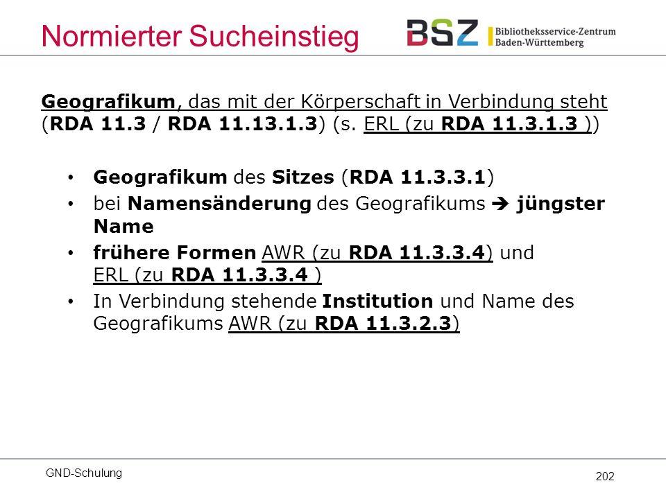 202 Geografikum, das mit der Körperschaft in Verbindung steht (RDA 11.3 / RDA 11.13.1.3) (s.