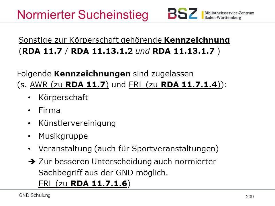 209 Sonstige zur Körperschaft gehörende Kennzeichnung (RDA 11.7 / RDA 11.13.1.2 und RDA 11.13.1.7 ) Folgende Kennzeichnungen sind zugelassen (s.