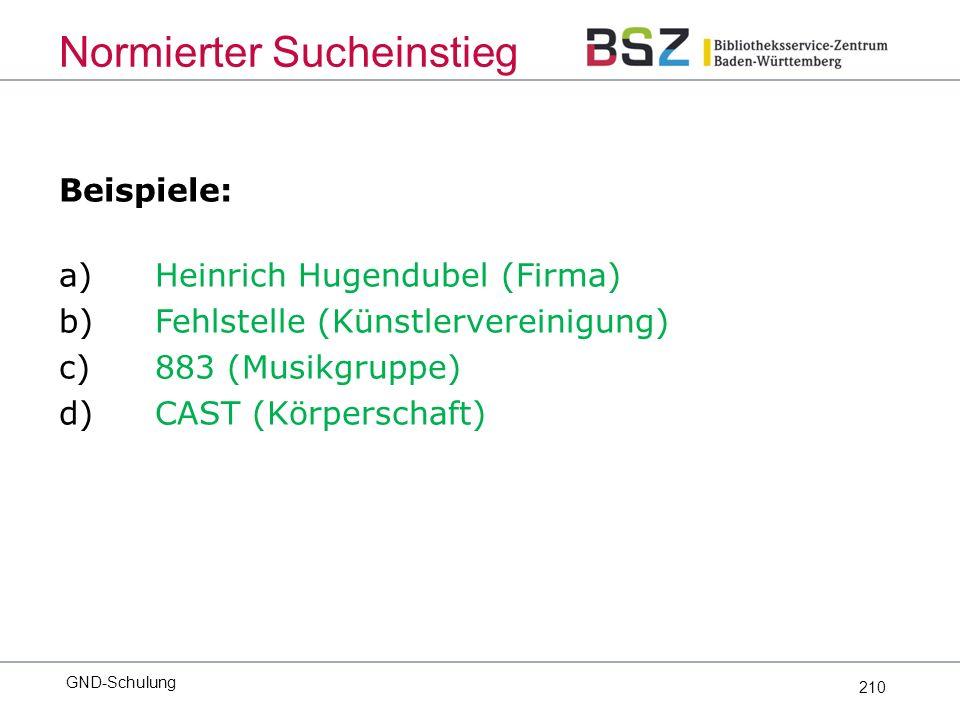 210 Beispiele: a)Heinrich Hugendubel (Firma) b)Fehlstelle (Künstlervereinigung) c)883 (Musikgruppe) d)CAST (Körperschaft) Normierter Sucheinstieg GND-Schulung