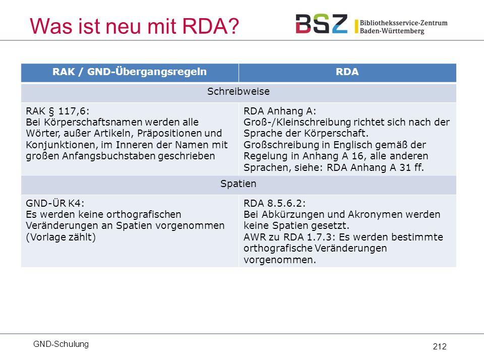 212 Was ist neu mit RDA.