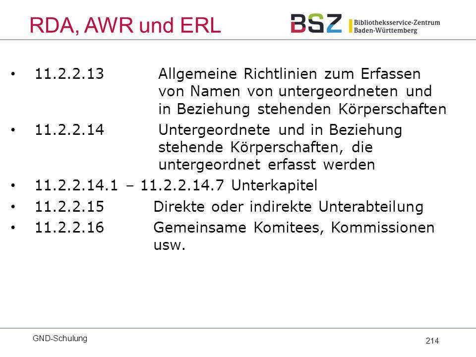 214 11.2.2.13 Allgemeine Richtlinien zum Erfassen von Namen von untergeordneten und in Beziehung stehenden Körperschaften 11.2.2.14 Untergeordnete und in Beziehung stehende Körperschaften, die untergeordnet erfasst werden 11.2.2.14.1 – 11.2.2.14.7 Unterkapitel 11.2.2.15 Direkte oder indirekte Unterabteilung 11.2.2.16 Gemeinsame Komitees, Kommissionen usw.