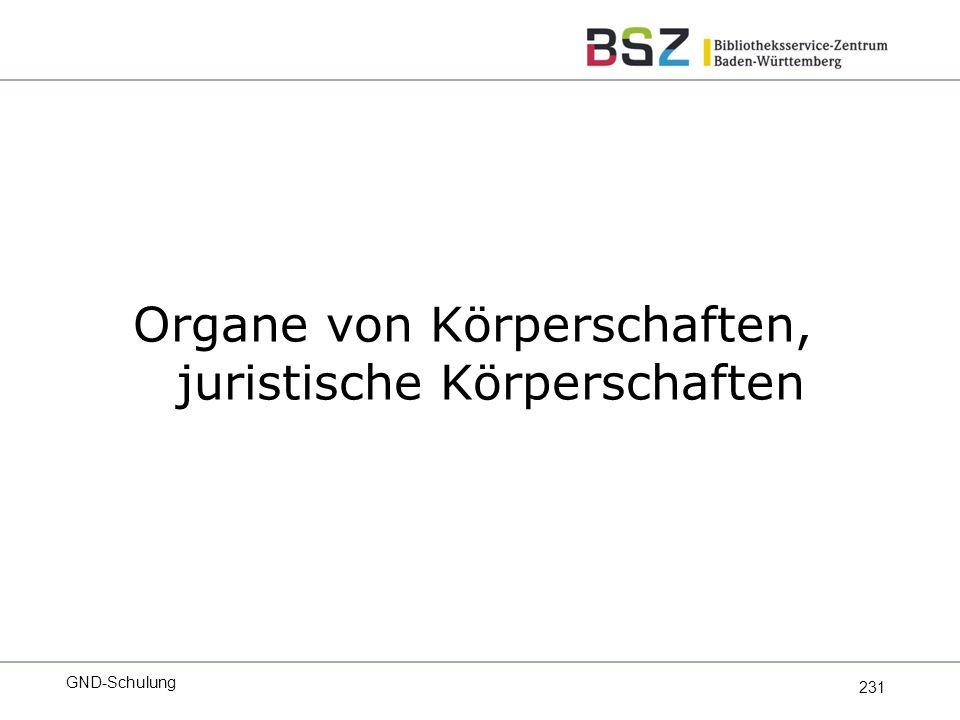 231 Organe von Körperschaften, juristische Körperschaften GND-Schulung