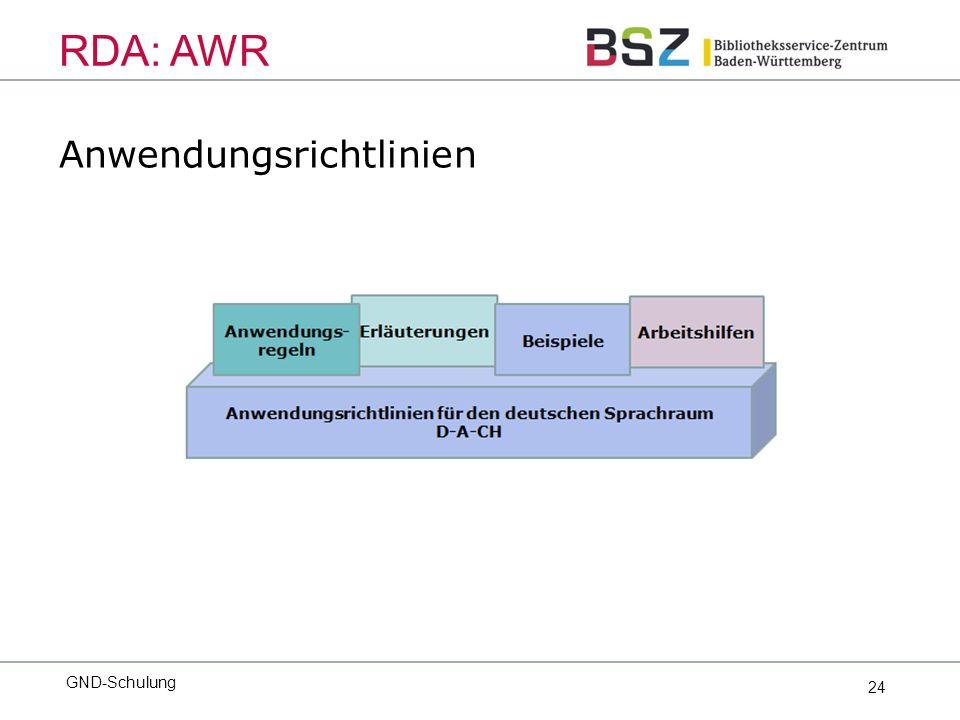 24 Anwendungsrichtlinien GND-Schulung RDA: AWR