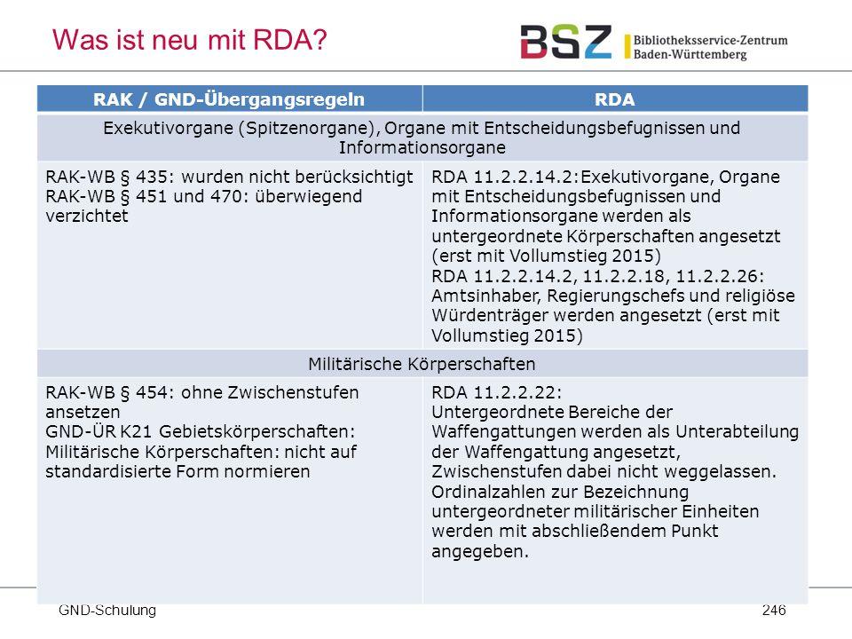 246 GND-Schulung Was ist neu mit RDA.