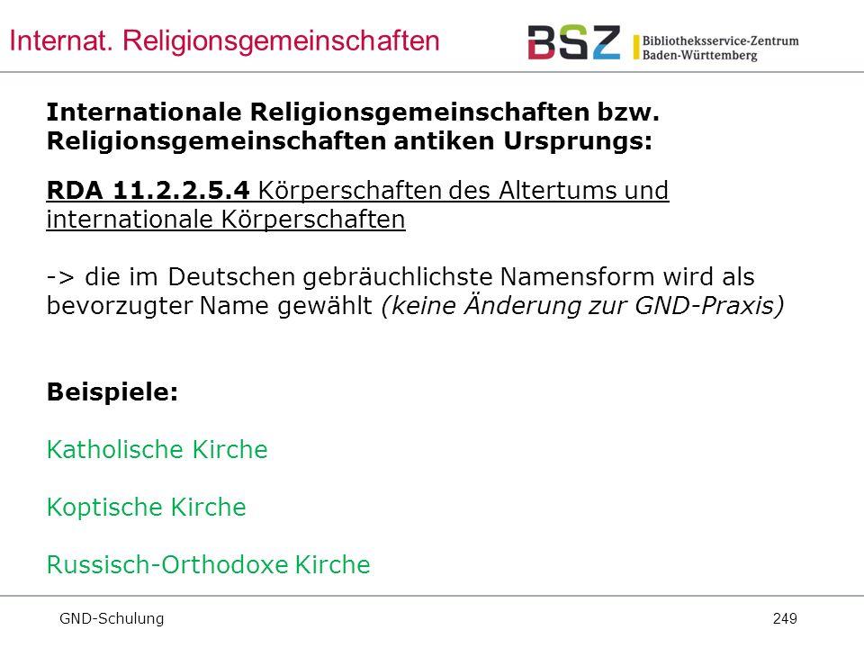 249 Internationale Religionsgemeinschaften bzw.