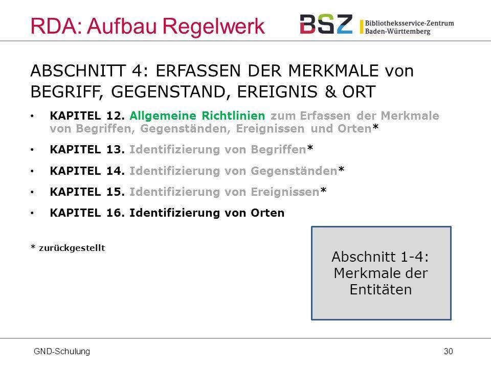 30 ABSCHNITT 4: ERFASSEN DER MERKMALE von BEGRIFF, GEGENSTAND, EREIGNIS & ORT KAPITEL 12.