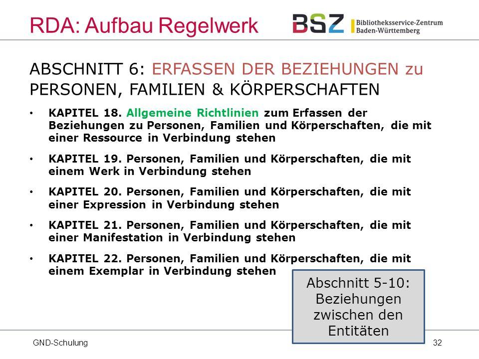 32 ABSCHNITT 6: ERFASSEN DER BEZIEHUNGEN zu PERSONEN, FAMILIEN & KÖRPERSCHAFTEN KAPITEL 18.