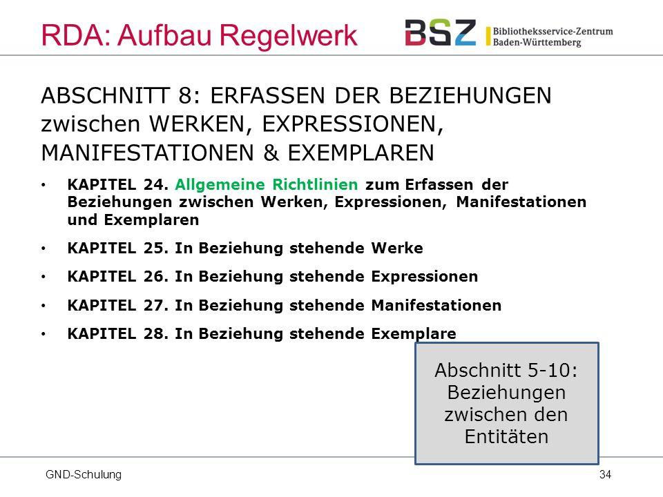 34 ABSCHNITT 8: ERFASSEN DER BEZIEHUNGEN zwischen WERKEN, EXPRESSIONEN, MANIFESTATIONEN & EXEMPLAREN KAPITEL 24.