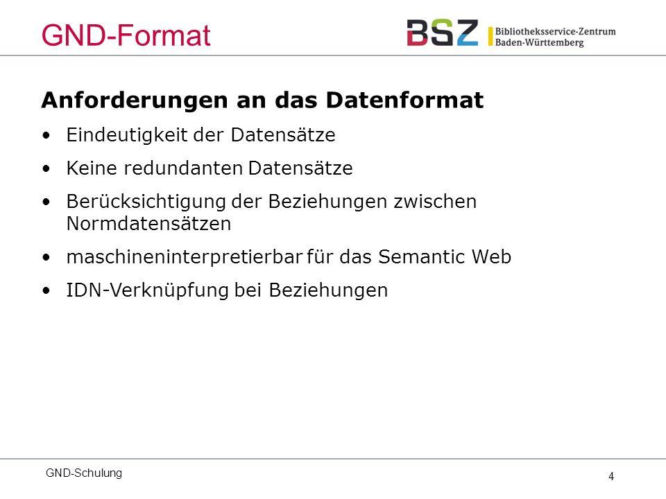 4 Anforderungen an das Datenformat Eindeutigkeit der Datensätze Keine redundanten Datensätze Berücksichtigung der Beziehungen zwischen Normdatensätzen maschineninterpretierbar für das Semantic Web IDN-Verknüpfung bei Beziehungen GND-Schulung GND-Format