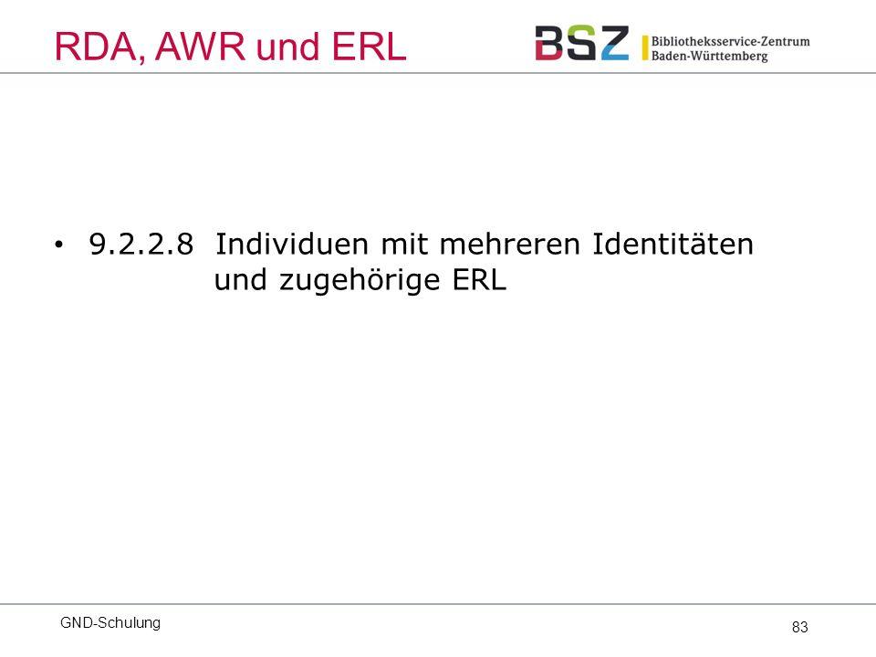 83 9.2.2.8 Individuen mit mehreren Identitäten und zugehörige ERL GND-Schulung RDA, AWR und ERL