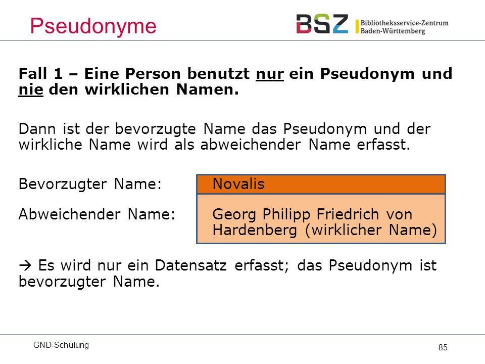 85 Fall 1 – Eine Person benutzt nur ein Pseudonym und nie den wirklichen Namen.