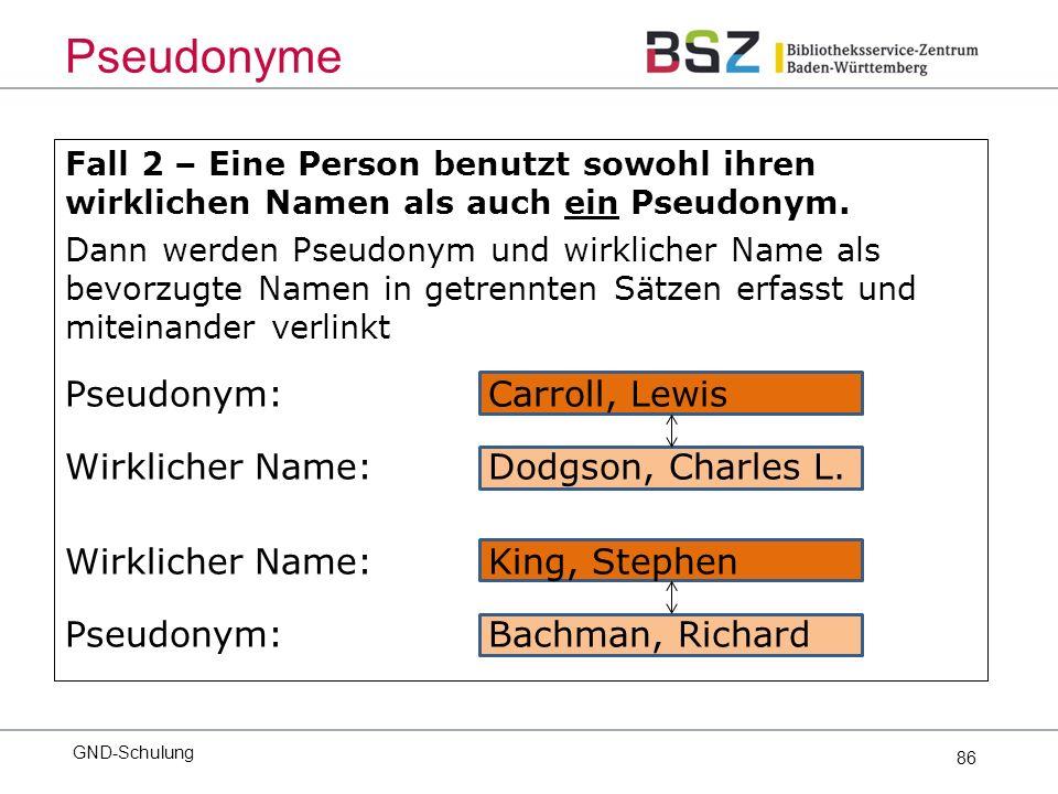 86 Fall 2 – Eine Person benutzt sowohl ihren wirklichen Namen als auch ein Pseudonym.
