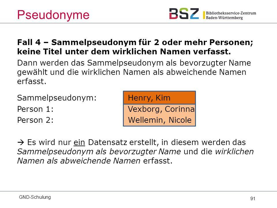 91 Fall 4 – Sammelpseudonym für 2 oder mehr Personen; keine Titel unter dem wirklichen Namen verfasst.