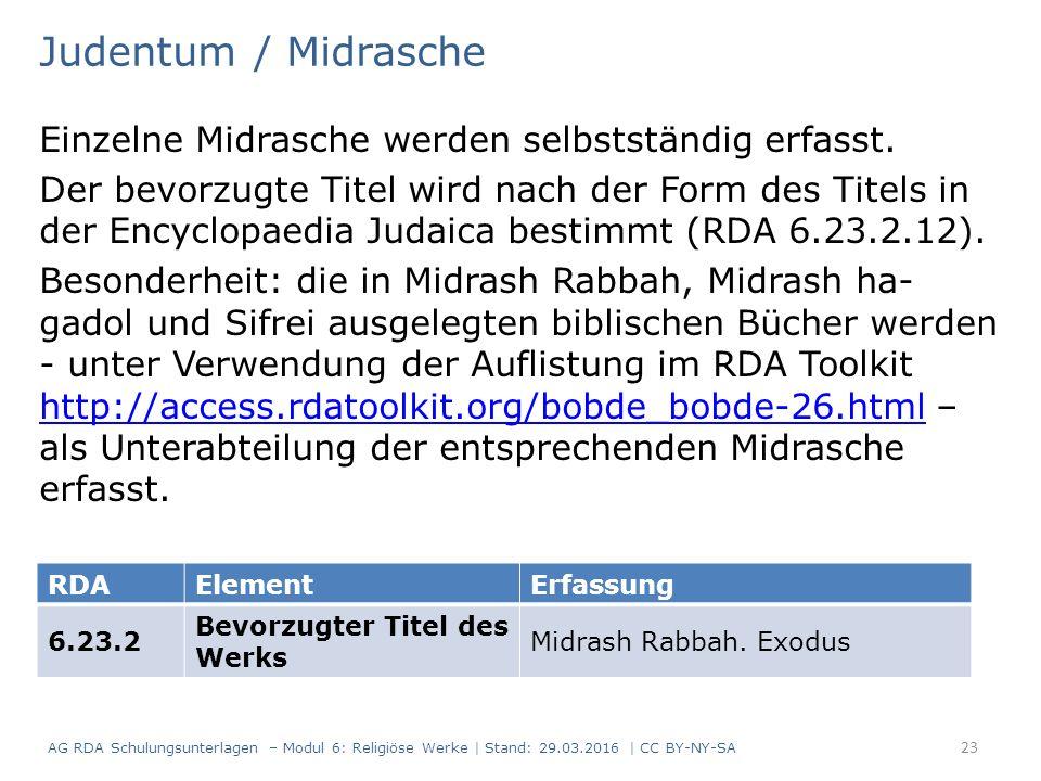 Judentum / Midrasche Einzelne Midrasche werden selbstständig erfasst. Der bevorzugte Titel wird nach der Form des Titels in der Encyclopaedia Judaica