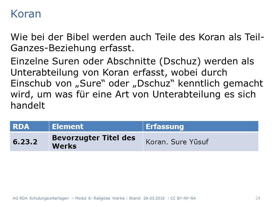 Koran Wie bei der Bibel werden auch Teile des Koran als Teil- Ganzes-Beziehung erfasst. Einzelne Suren oder Abschnitte (Dschuz) werden als Unterabteil