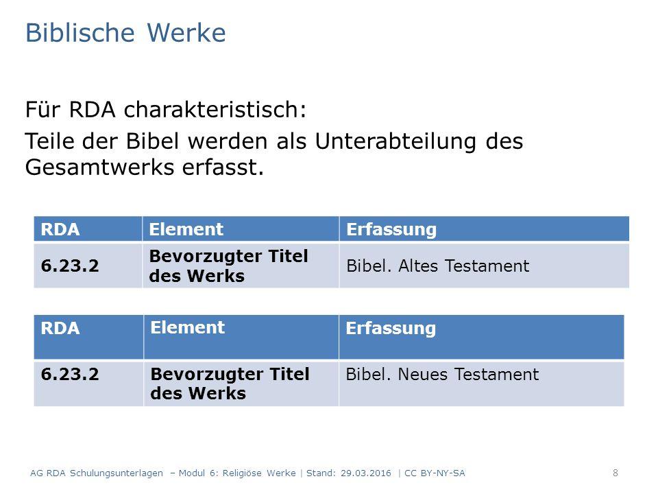 Biblische Werke Für RDA charakteristisch: Teile der Bibel werden als Unterabteilung des Gesamtwerks erfasst. RDAElementErfassung 6.23.2 Bevorzugter Ti