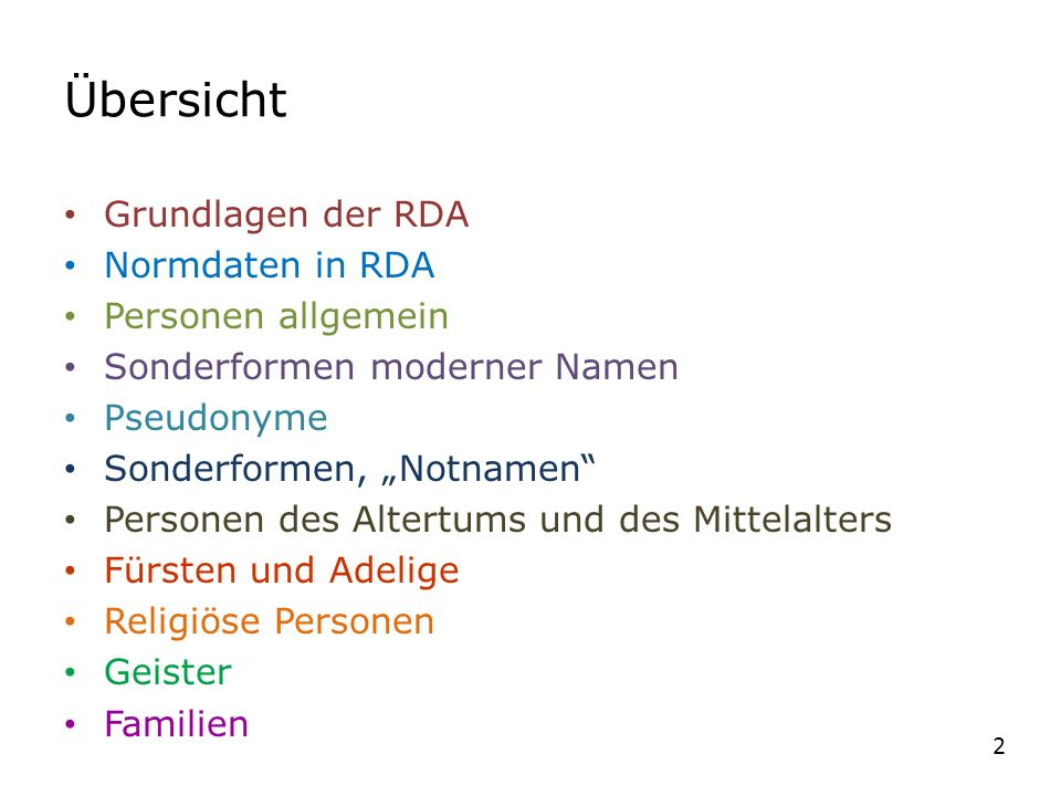 RDA 9.4.1.8 und ERL (zu RDA 9.4.1.8) -1-ERL (zu RDA 9.4.1.8) Sonstige Personen mit religiöser Berufung (christliche) Titel als Teil des normierten Sucheinstiegs nur – wenn sie ihn selbst gebrauchen oder – wenn er in den Ressourcen bzw.