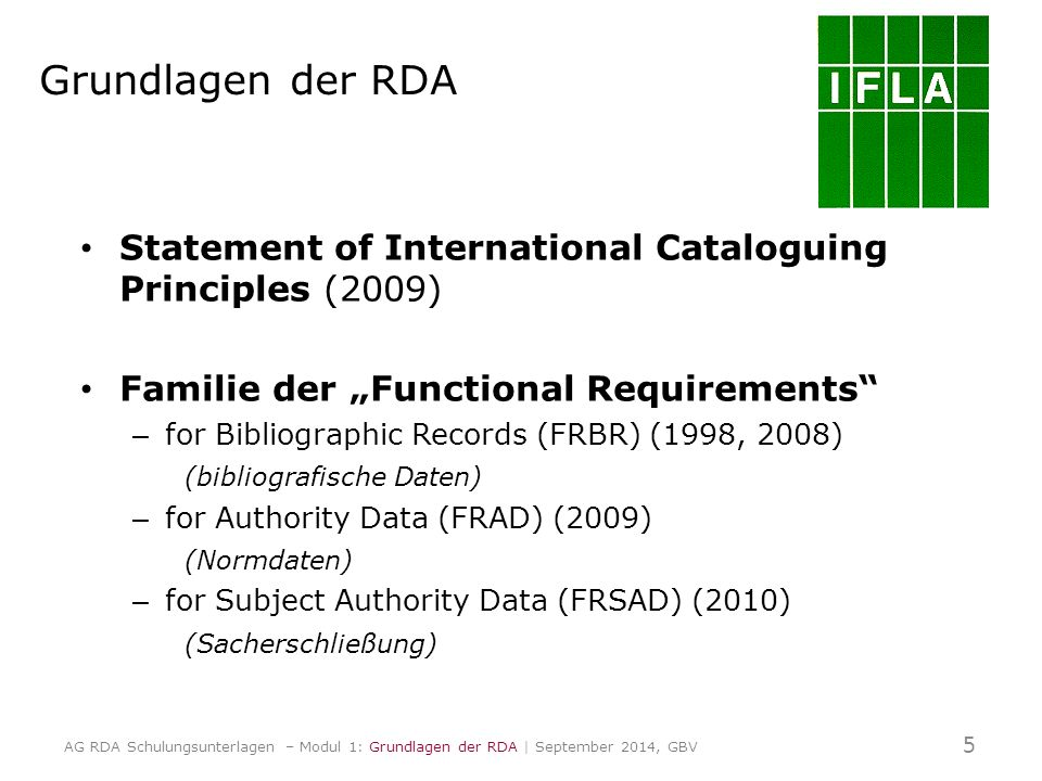 "Grundlagen der RDA Statement of International Cataloguing Principles (2009) Familie der ""Functional Requirements – for Bibliographic Records (FRBR) (1998, 2008) (bibliografische Daten) – for Authority Data (FRAD) (2009) (Normdaten) – for Subject Authority Data (FRSAD) (2010) (Sacherschließung) 5 AG RDA Schulungsunterlagen – Modul 1: Grundlagen der RDA 