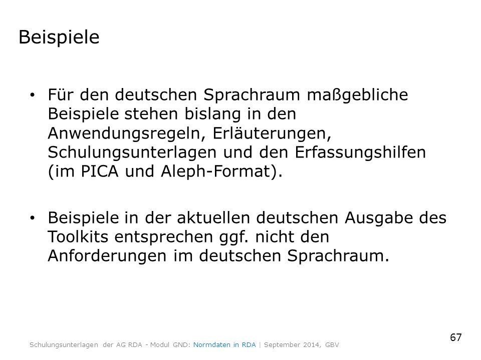 Beispiele Für den deutschen Sprachraum maßgebliche Beispiele stehen bislang in den Anwendungsregeln, Erläuterungen, Schulungsunterlagen und den Erfassungshilfen (im PICA und Aleph-Format).