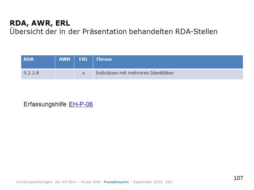 RDA, AWR, ERL Übersicht der in der Präsentation behandelten RDA-Stellen RDAAWRERLThema 9.2.2.8xIndividuen mit mehreren Identitäten Erfassungshilfe EH-P-06EH-P-06 107 Schulungsunterlagen der AG RDA – Modul GND: Pseudonyme | September 2014, GBV
