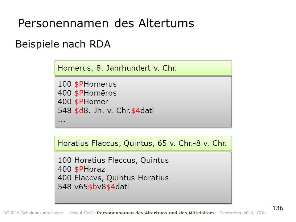 Beispiele nach RDA 136 AG RDA Schulungsunterlagen – Modul GND: Personennamen des Altertums und des Mittelalters | September 2014, GBV Homerus, 8. Jahr
