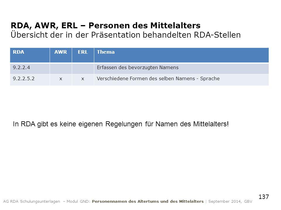 RDA, AWR, ERL – Personen des Mittelalters Übersicht der in der Präsentation behandelten RDA-Stellen RDAAWRERLThema 9.2.2.4Erfassen des bevorzugten Namens 9.2.2.5.2xxVerschiedene Formen des selben Namens - Sprache In RDA gibt es keine eigenen Regelungen für Namen des Mittelalters.