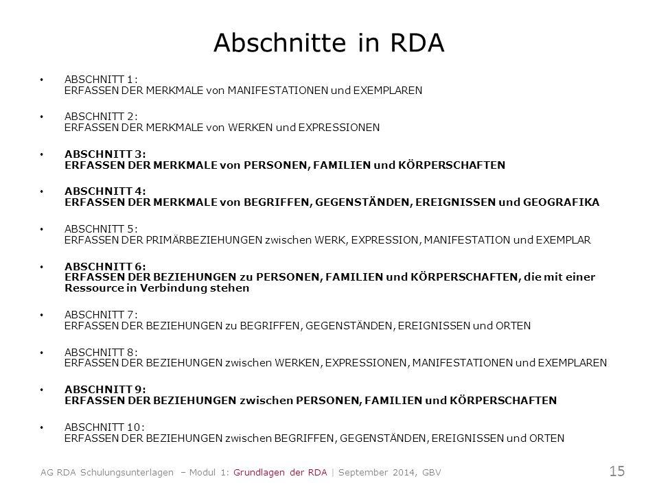 Abschnitte in RDA ABSCHNITT 1: ERFASSEN DER MERKMALE von MANIFESTATIONEN und EXEMPLAREN ABSCHNITT 2: ERFASSEN DER MERKMALE von WERKEN und EXPRESSIONEN