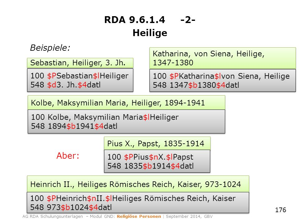 RDA 9.6.1.4 -2- Heilige 176 AG RDA Schulungsunterlagen – Modul GND: Religiöse Personen | September 2014, GBV Sebastian, Heiliger, 3. Jh. 100 $PSebasti