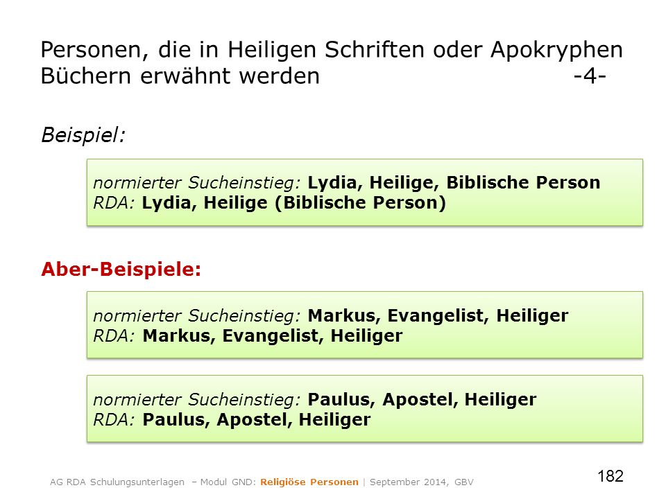 Beispiel: Aber-Beispiele: 182 Personen, die in Heiligen Schriften oder Apokryphen Büchern erwähnt werden-4- normierter Sucheinstieg: Lydia, Heilige, B