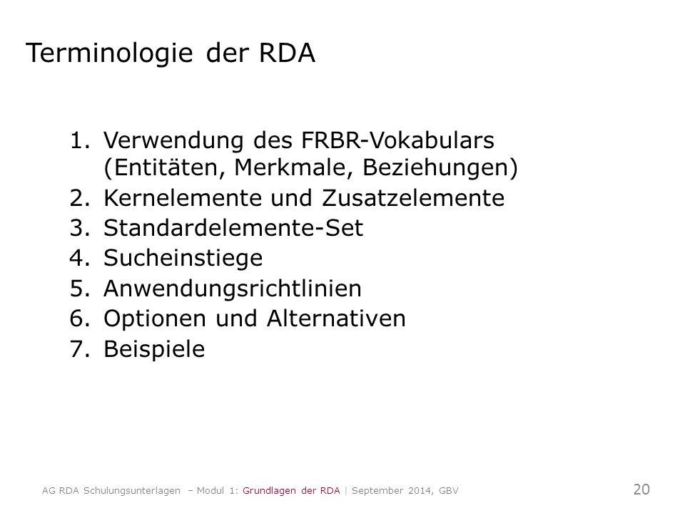 Terminologie der RDA 1.Verwendung des FRBR-Vokabulars (Entitäten, Merkmale, Beziehungen) 2.Kernelemente und Zusatzelemente 3.Standardelemente-Set 4.Sucheinstiege 5.Anwendungsrichtlinien 6.Optionen und Alternativen 7.Beispiele 20 AG RDA Schulungsunterlagen – Modul 1: Grundlagen der RDA | September 2014, GBV