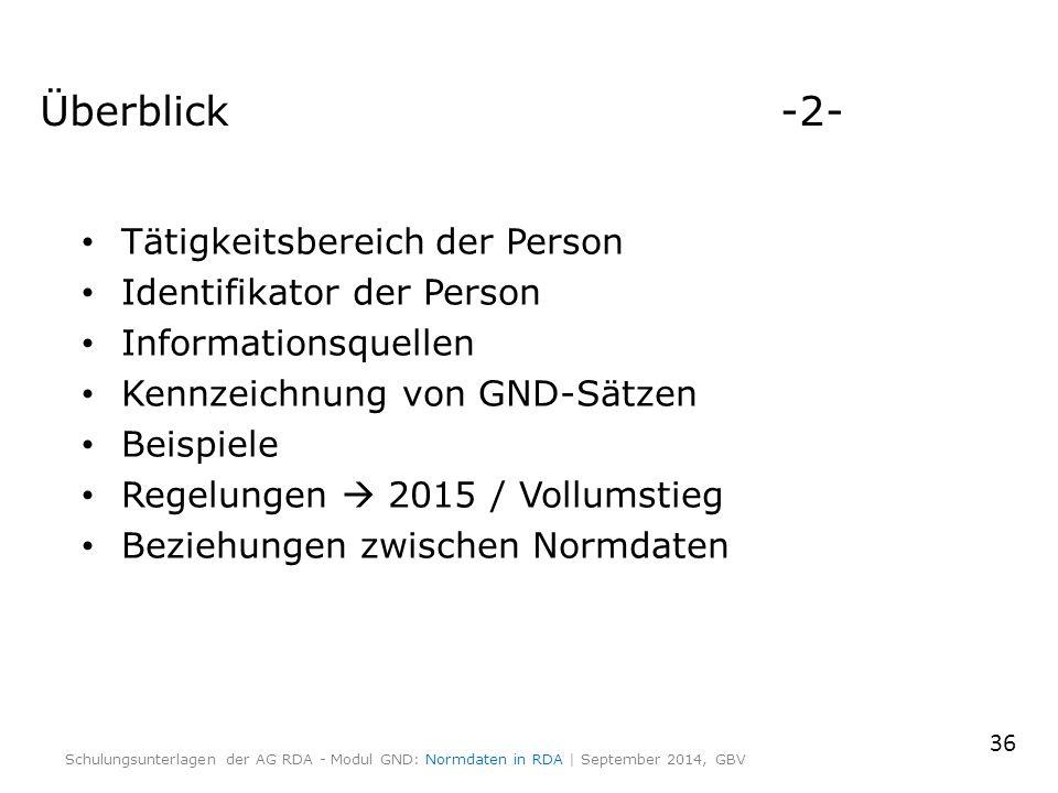 Überblick-2- Tätigkeitsbereich der Person Identifikator der Person Informationsquellen Kennzeichnung von GND-Sätzen Beispiele Regelungen  2015 / Voll