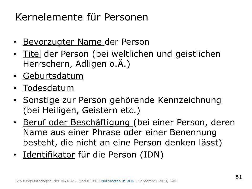 Kernelemente für Personen Bevorzugter Name der Person Titel der Person (bei weltlichen und geistlichen Herrschern, Adligen o.Ä.) Geburtsdatum Todesdat