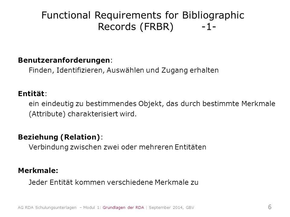 Functional Requirements for Bibliographic Records (FRBR) -1- Benutzeranforderungen: Finden, Identifizieren, Auswählen und Zugang erhalten Entität: ein eindeutig zu bestimmendes Objekt, das durch bestimmte Merkmale (Attribute) charakterisiert wird.