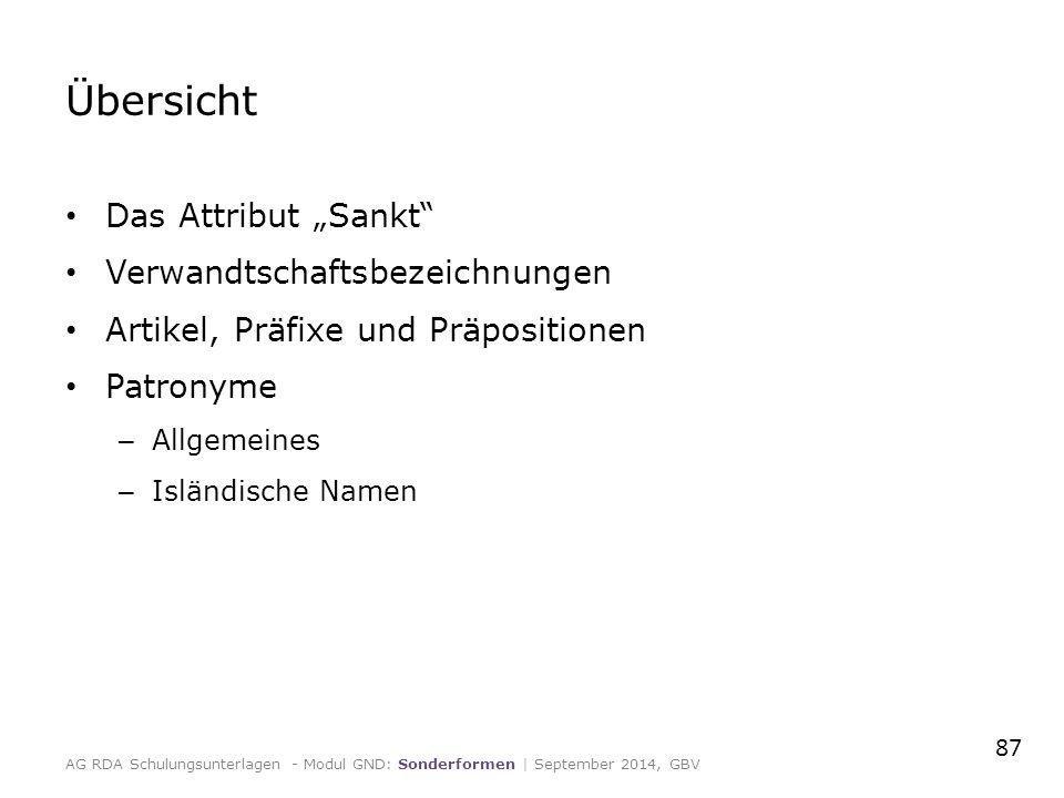 """Übersicht Das Attribut """"Sankt"""" Verwandtschaftsbezeichnungen Artikel, Präfixe und Präpositionen Patronyme – Allgemeines – Isländische Namen AG RDA Schu"""