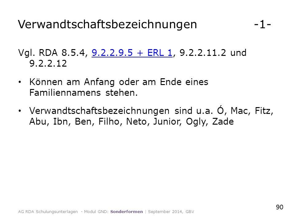 Verwandtschaftsbezeichnungen -1- Vgl. RDA 8.5.4, 9.2.2.9.5 + ERL 1, 9.2.2.11.2 und 9.2.2.129.2.2.9.5 + ERL 1 Können am Anfang oder am Ende eines Famil