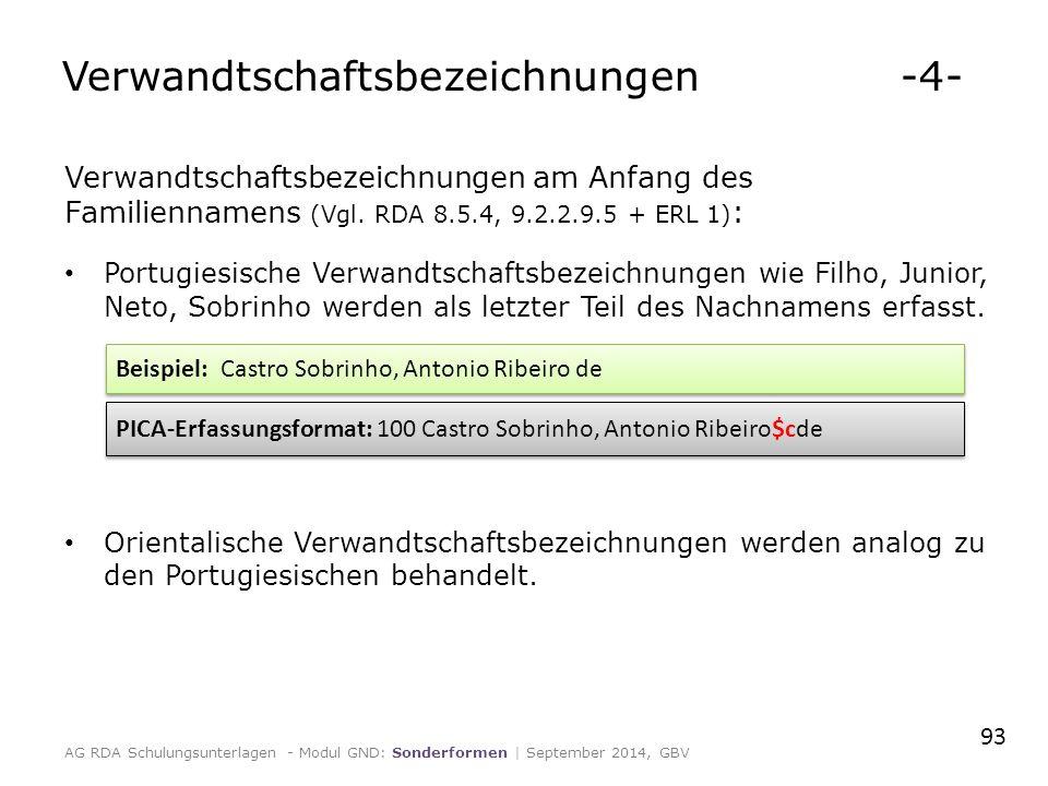 Verwandtschaftsbezeichnungen am Anfang des Familiennamens (Vgl.
