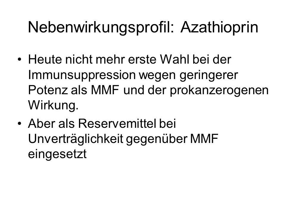 Nebenwirkungsprofil: Azathioprin Heute nicht mehr erste Wahl bei der Immunsuppression wegen geringerer Potenz als MMF und der prokanzerogenen Wirkung.
