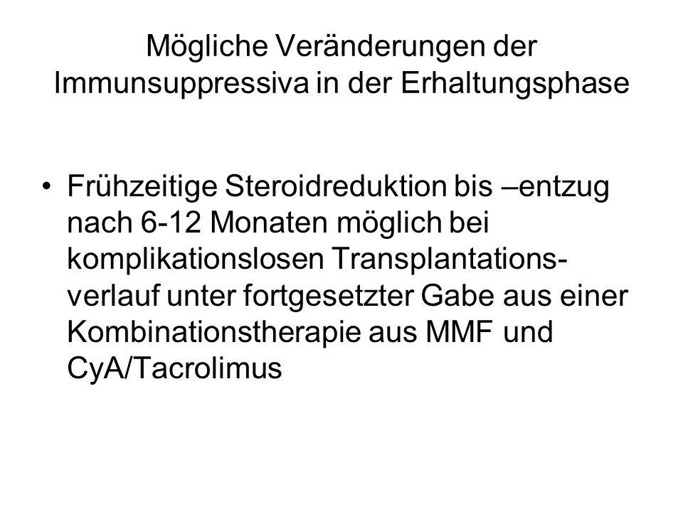 Mögliche Veränderungen der Immunsuppressiva in der Erhaltungsphase Frühzeitige Steroidreduktion bis –entzug nach 6-12 Monaten möglich bei komplikationslosen Transplantations- verlauf unter fortgesetzter Gabe aus einer Kombinationstherapie aus MMF und CyA/Tacrolimus