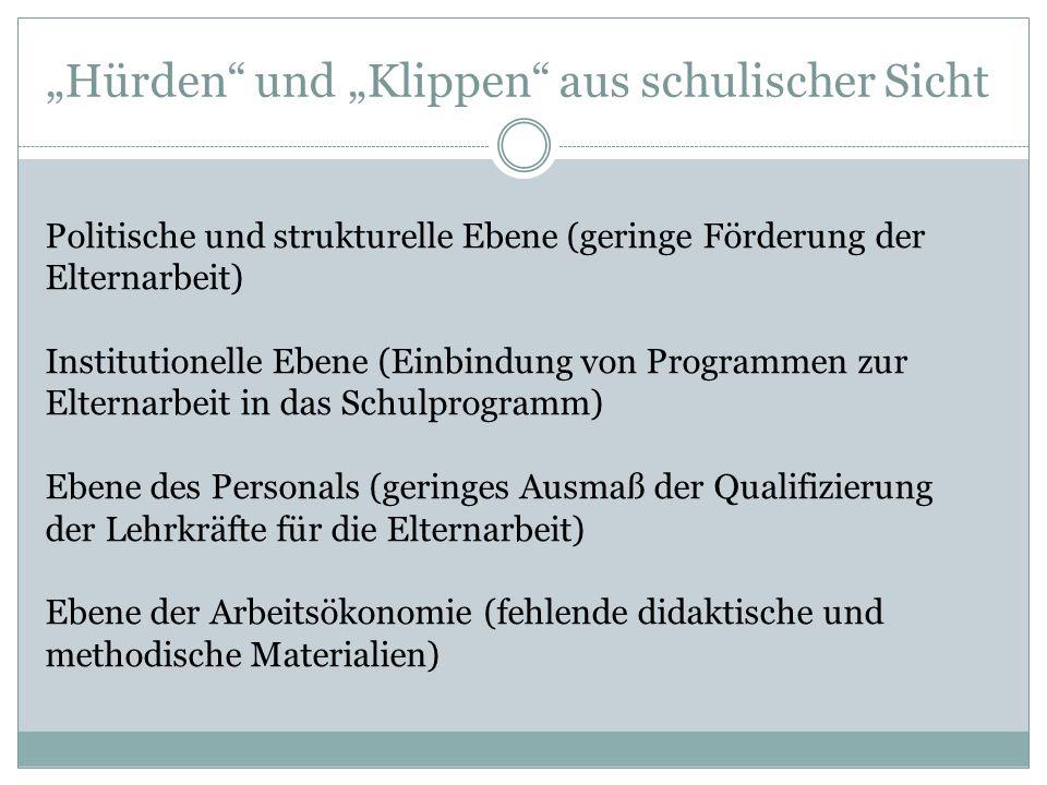 """""""Hürden"""" und """"Klippen"""" aus schulischer Sicht Politische und strukturelle Ebene (geringe Förderung der Elternarbeit) Institutionelle Ebene (Einbindung"""