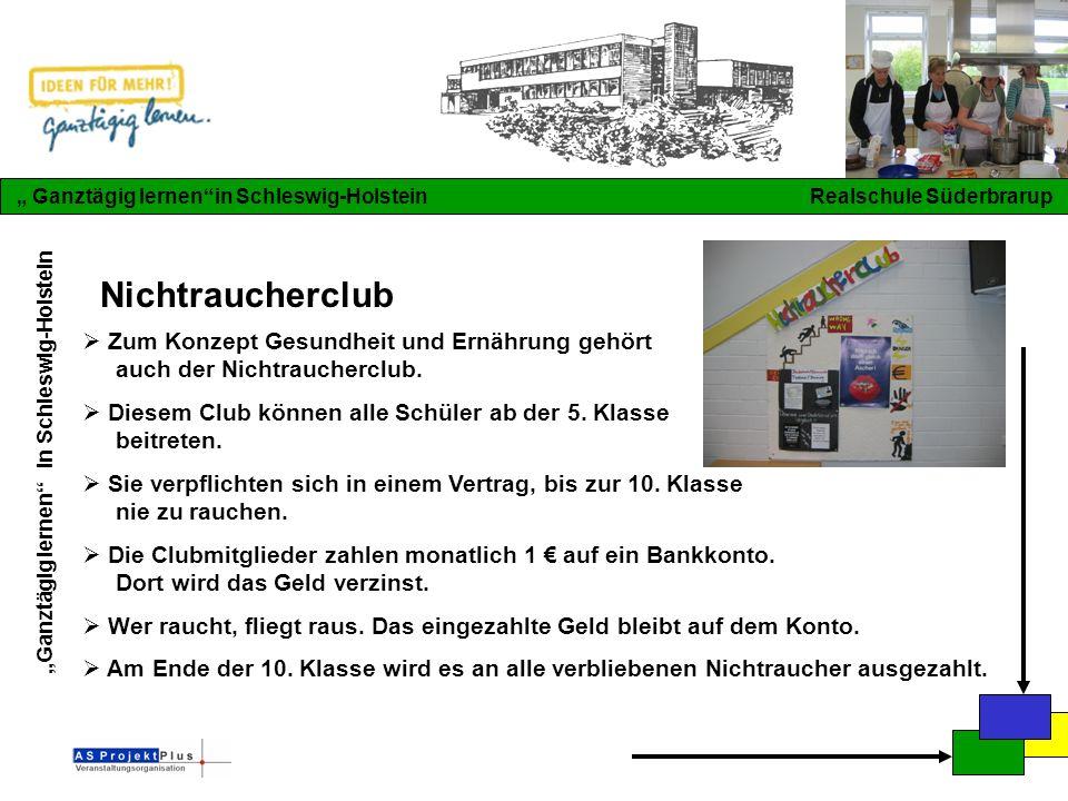 """""""Ganztägig lernen in Schleswig-Holstein """" Ganztägig lernen in Schleswig-Holstein Realschule Süderbrarup Nichtraucherclub  Zum Konzept Gesundheit und Ernährung gehört auch der Nichtraucherclub."""