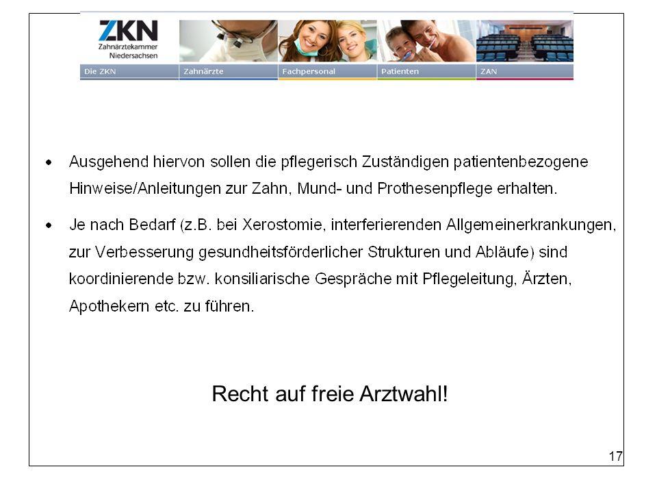 Recht Recht auf freie Arztwahl! auf freie Arztwahl 17
