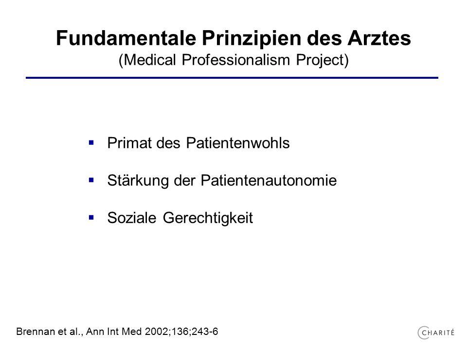 Fundamentale Prinzipien des Arztes (Medical Professionalism Project)  Primat des Patientenwohls  Stärkung der Patientenautonomie  Soziale Gerechtigkeit Brennan et al., Ann Int Med 2002;136;243-6