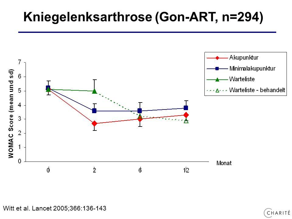 Kniegelenksarthrose (Gon-ART, n=294) Witt et al. Lancet 2005;366:136-143