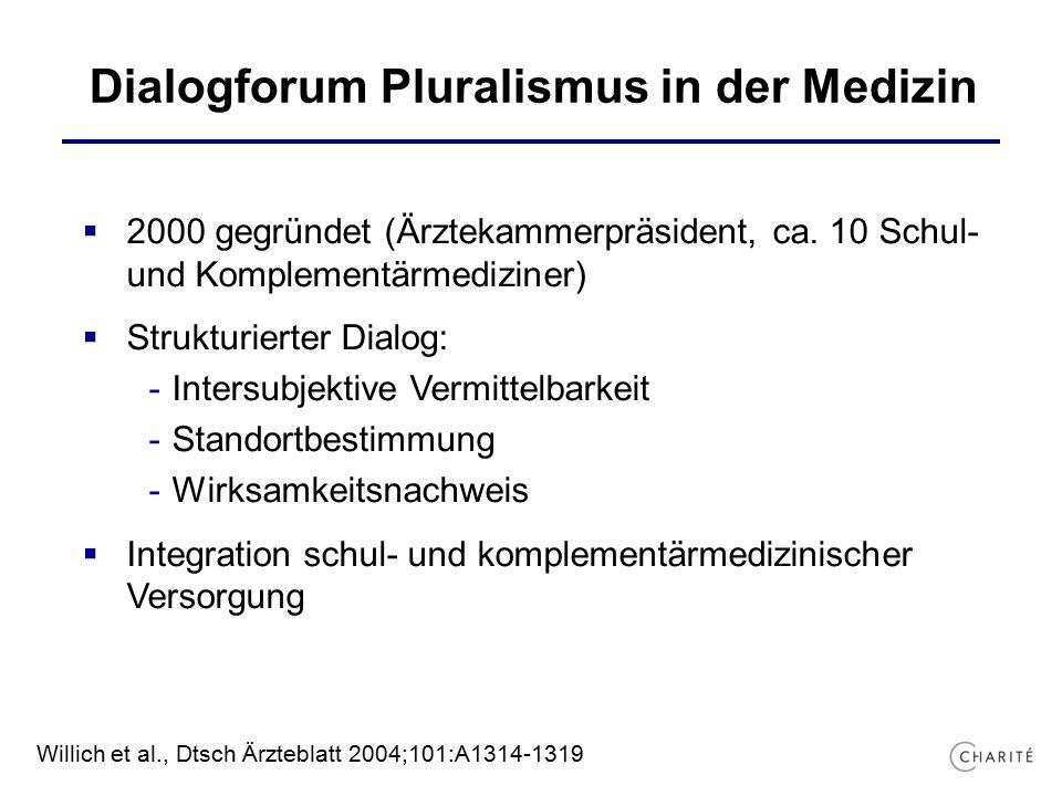 Dialogforum Pluralismus in der Medizin  2000 gegründet (Ärztekammerpräsident, ca.